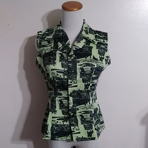 Vintage Lime Green All Over Print Blouse